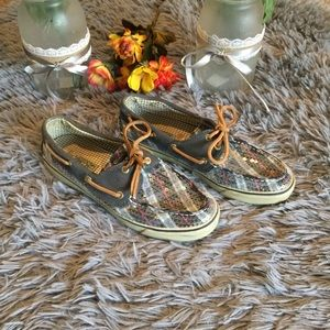 Sperry Top Sider Blue Plaid Size 7.5M